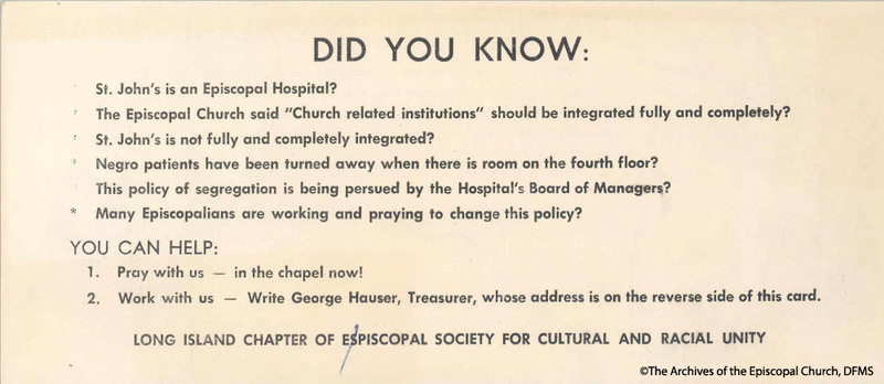 Flyer Distributed Regarding Segregation At Episcopal Hospital