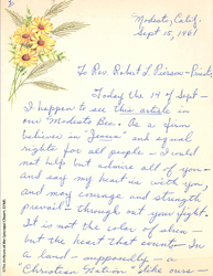 A Letter Supporting The Freedom Riders, 1961