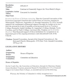 Resolution Outlining Continued Support Of Black Colleges, 1976